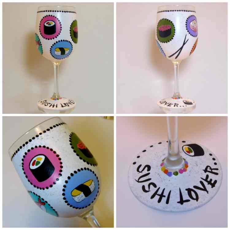 Sushi Lovers Hand Painted Wine glass