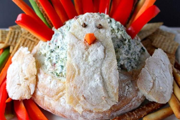 Spinach Ranch Dip in a fun Turkey Bread Bowl