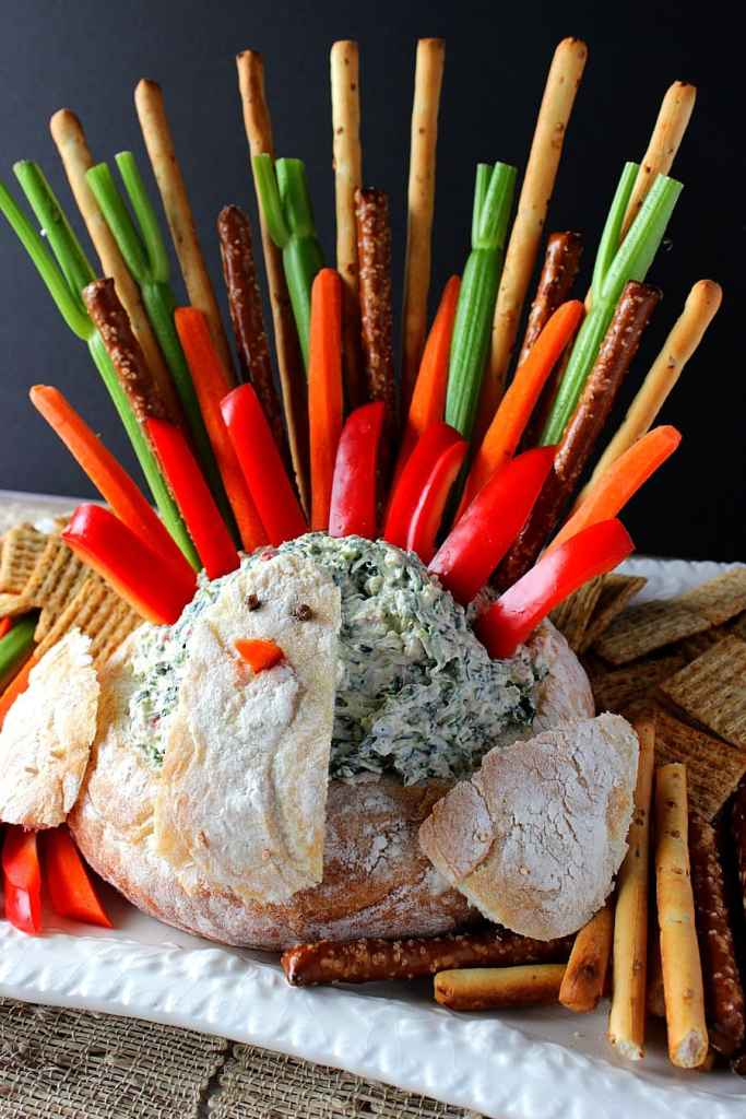 Turkey Bread Bowl Appetizer with Spinach Dip