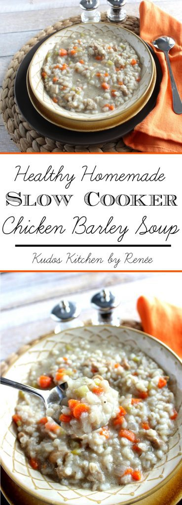 Healthy Homemade Slow Cooker Chicken Barley Soup