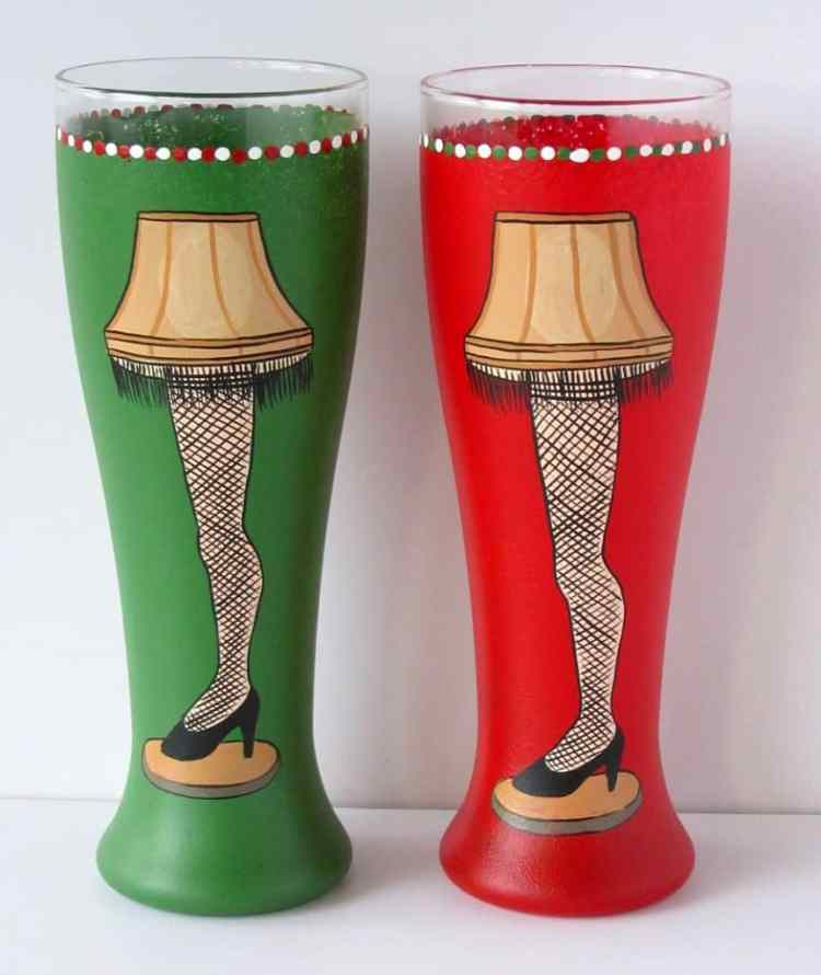 Hand Painted Leg Lamp Beer Glasses