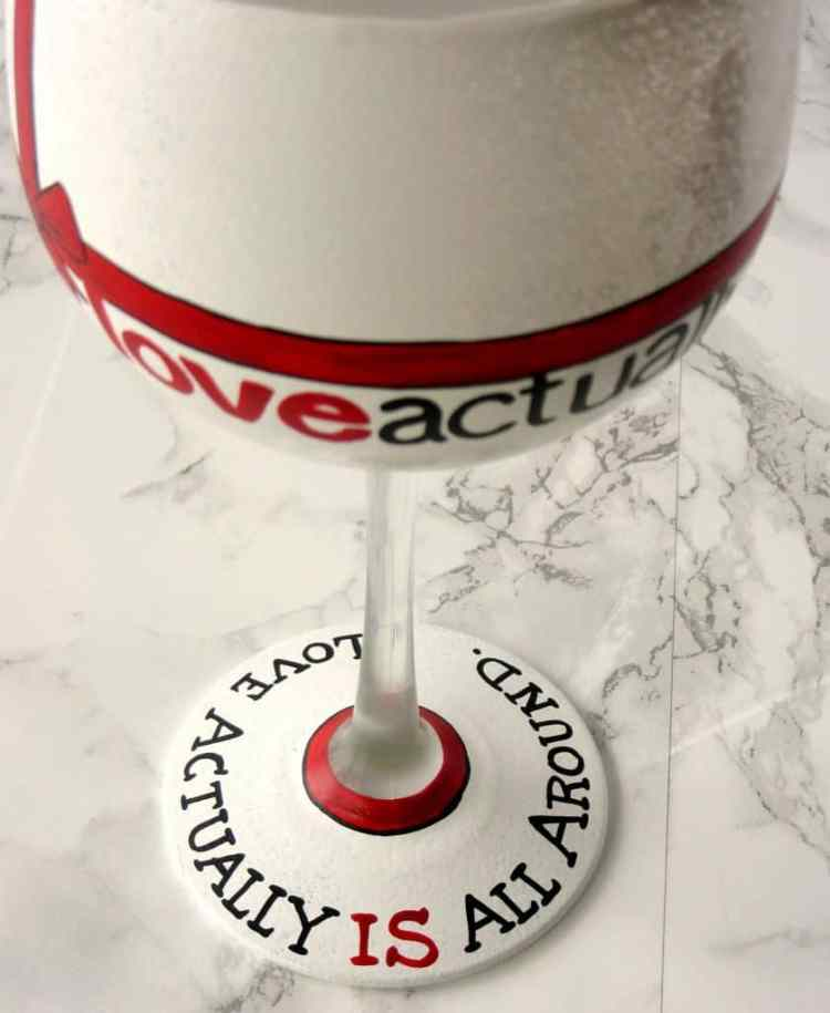 Hand Painted Love Actually Wine Glass