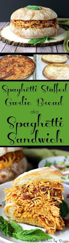 Spaghetti Stuffed Garlic Cheese Bread aka Spaghetti Sandwich