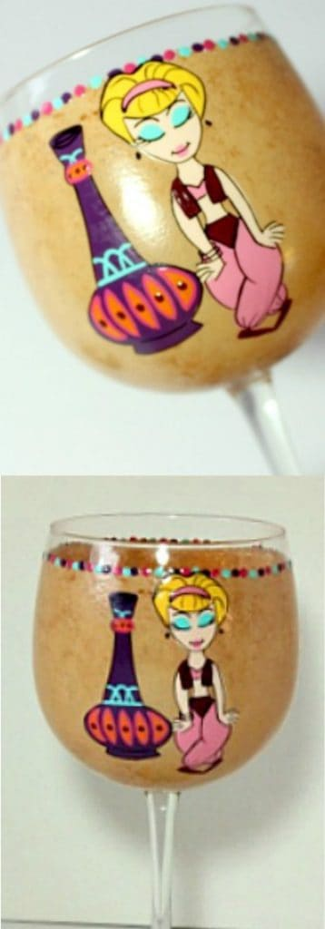 I Dream of Jeannie hand painted wine glass