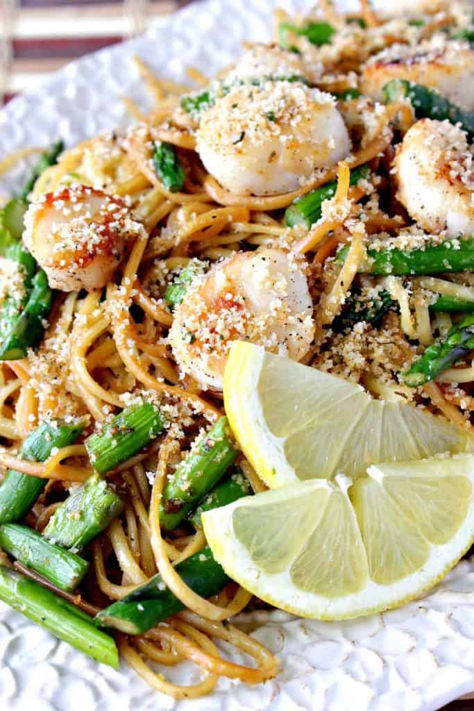 Caramelized Seared Scallops with Linguine, Asparagus and Buttered Breadcrumbs