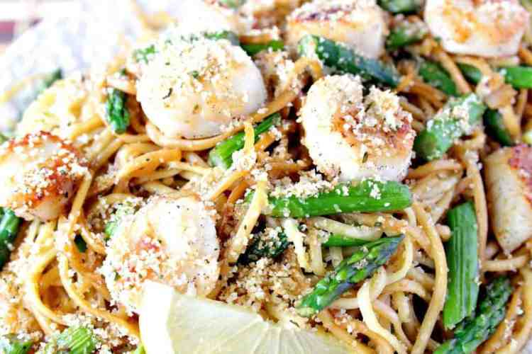 Caramelized Scallops with Linguine, Asparagus and Buttered Breadcrumbs
