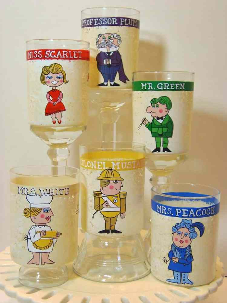 Hand Painted Clue Character Drinks Glasses