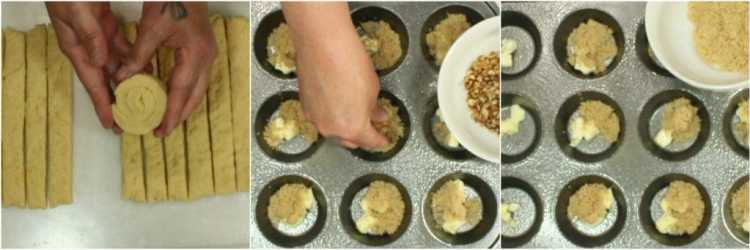 Rolling the dough and preparing the muffin tins for the Sticky Caramel Sweet Rolls