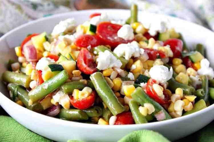 Farmer's Market Vegetable Salad with Tomatoes, Corn & Goat Cheese