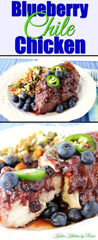 Blueberry Chile Chicken Skillet Dinner with Jalapeno slices - Kudos Kitchen by Renee