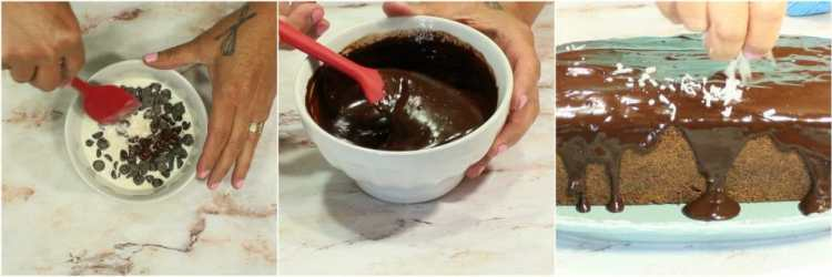 How to make chocolate chip dessert loaf with chocolate ganache icing.
