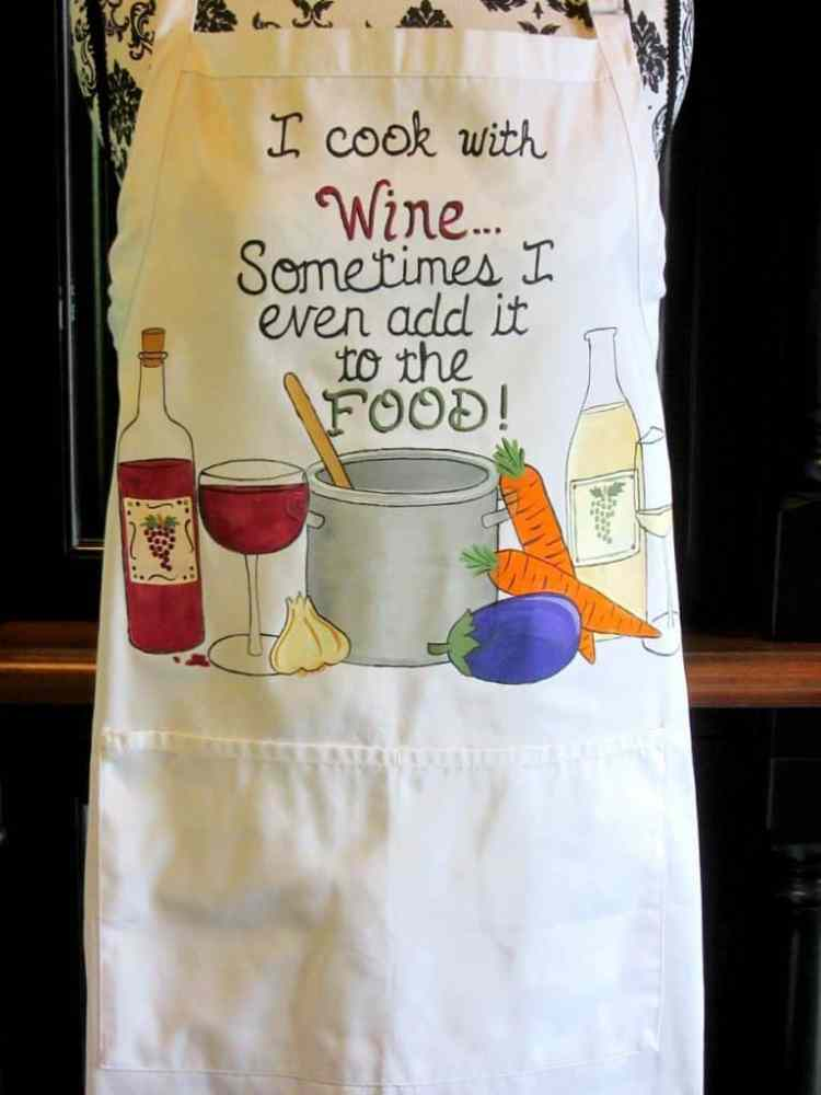 Hand Painted Cooking With Wine Apron