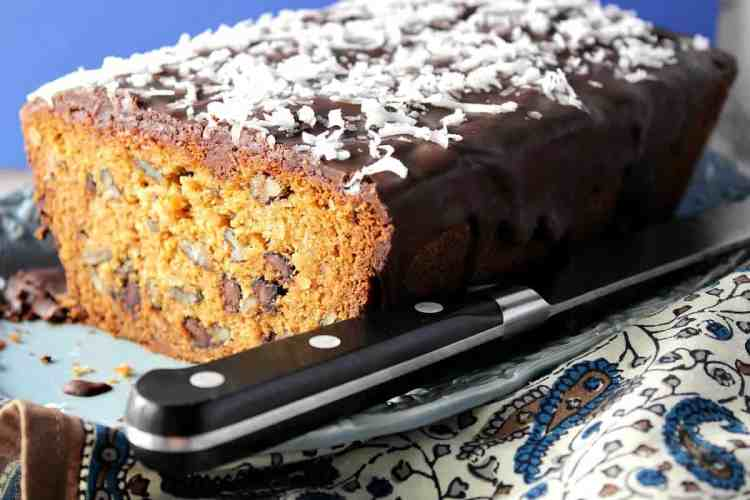 Sliced Chocolate Chip Dessert Loaf with Coconut and Pecans