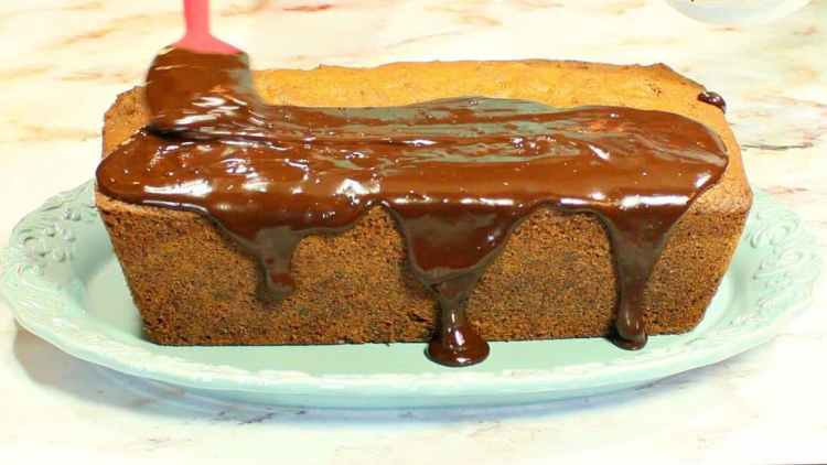 Chocolate Chip Dessert Loaf with Chocolate Ganache Topping