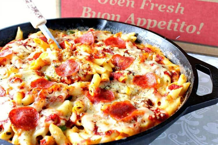 Pepperoni Pizza Macaroni and Cheese in a skillet