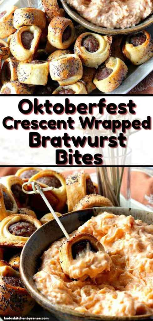 Easy Oktoberfest Crescent Wrapped Bratwurst Bites with Sauerkraut Dipping Sauce are just the thing to serve during an autumn party or gathering. They're also super simple to make, and everybody loves them! Make some today! - kudoskitchenbyrenee.com