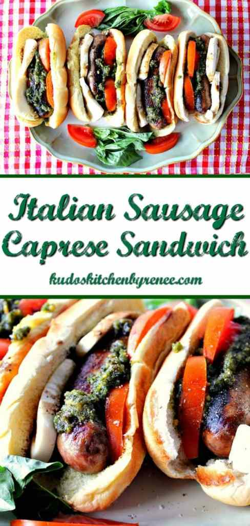 n the blink of an eye and in only the time takes to pan cook Italian sausages you can have a deliciously easy Italian Sausage Caprese Sandwich for dinner tonight! - kudoskitchenbyrenee.com