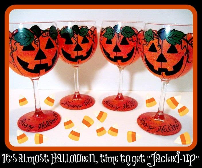 Hand Painted Jack-O-Lantern Wine Glasses for Halloween