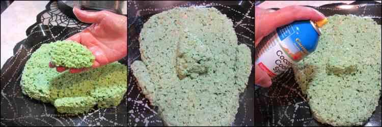 How to make Frankenstein Rice Cereal Halloween Treat - Kudos Kitchen by Renee