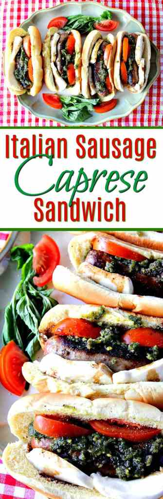 Italian Sausage Caprese Sandwich with Mozzarella, Tomato, Basil and Balsamic | Kudos Kitchen by Renee