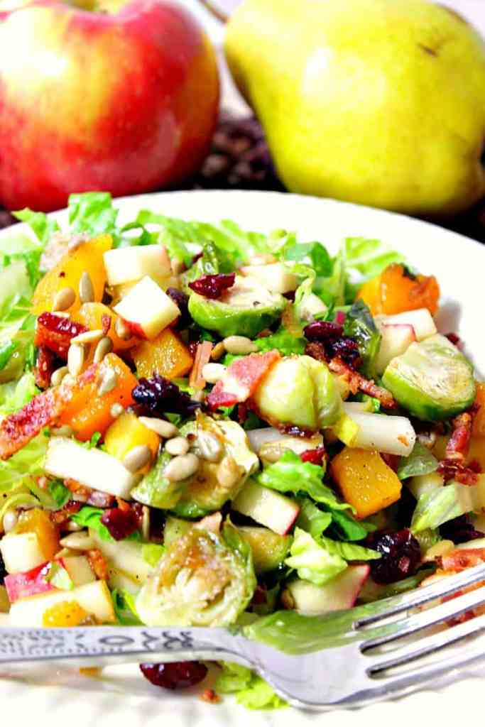 Autumn Harvest Chopped Fruit & Vegetable Salad with Bacon and Brussels Sprouts