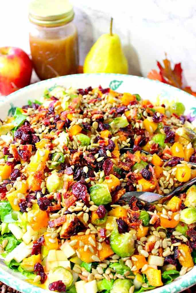 Autumn Harvest Chopped Fruit & Vegetable Salad with Butternut Squash & Brussels Sprouts | Kudos Kitchen by Renee