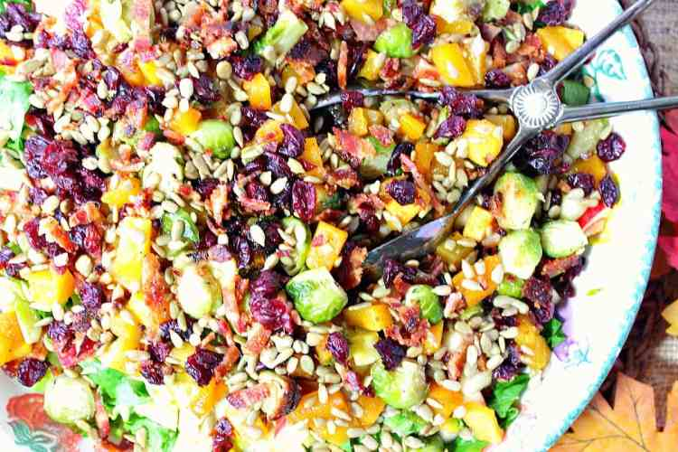 Autumn Harvest Chopped Fruit & Vegetable Salad with Butternut Squash and Brussels Sprouts | Kudos Kitchen by Renee