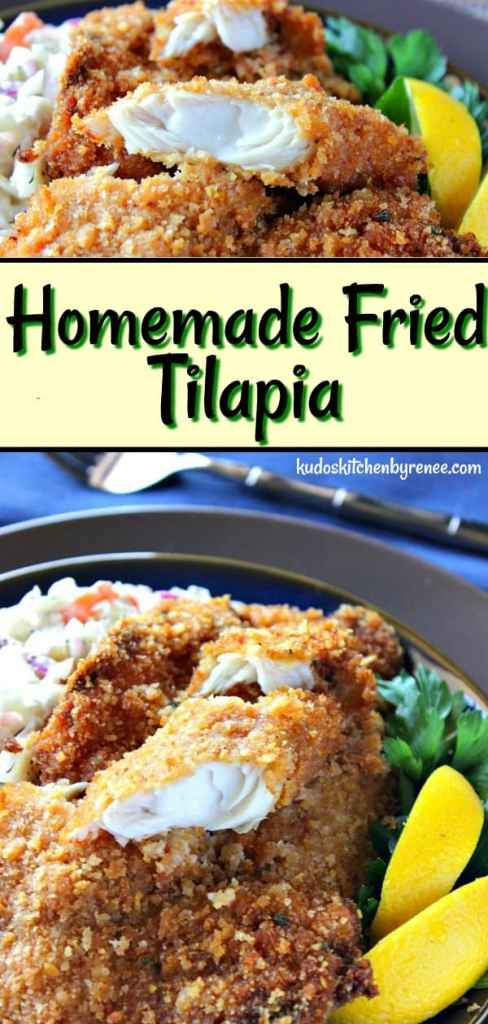 Hungry for a Friday night fish fry but don't want to pay restaurant prices? Kudos Kitchen style Homemade Fried Tilapia is crispy, crunchy, and utterly delicious. This recipe is sure to become a staple in your Friday night menu rotation. - kudoskitchenbyrenee.com