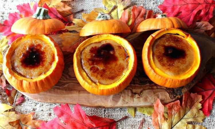 Pumpkin Creme Brulée baked in real pumpkin ramekin bowls. | Kudos Kitchen by Renee