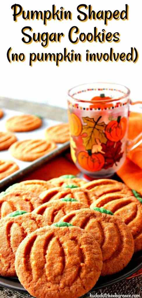 Easy to make pumpkin shaped sugar cookies are as charming as they are delicious. But surprise, don't let them fool you! There is no pumpkin in the ingredient list. - kudoskitchenbyrenee.com