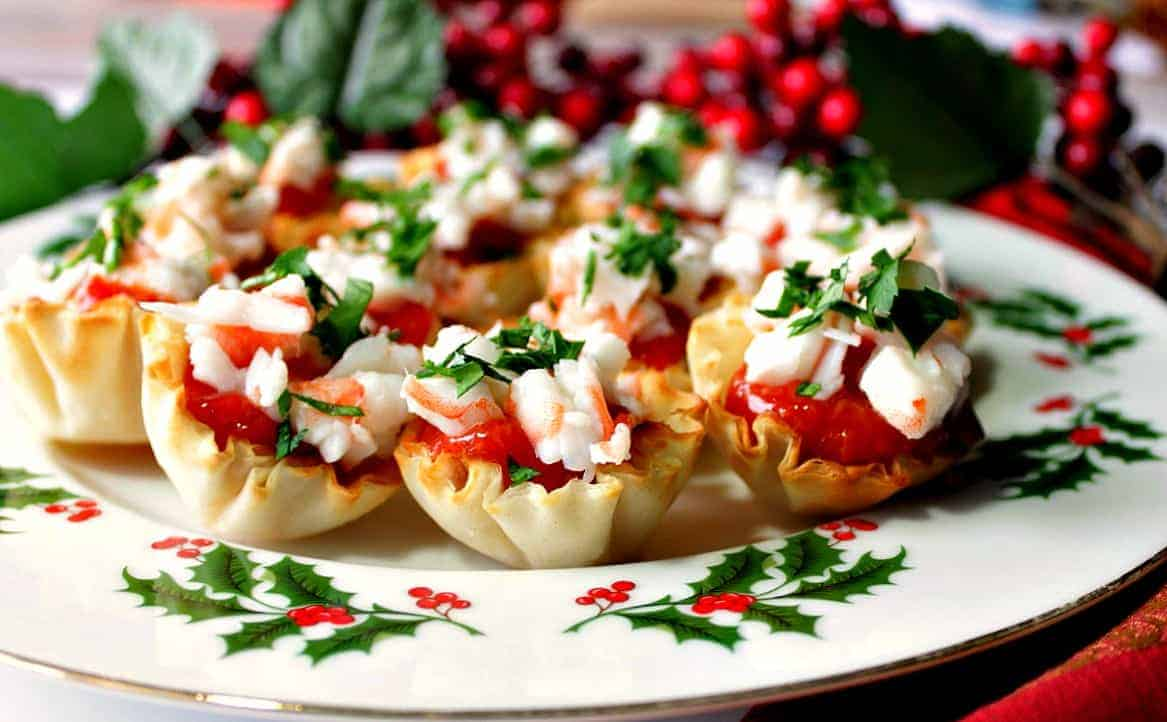 Festive Shrimp Cocktail Appetizer Bites In Phyllo Cups