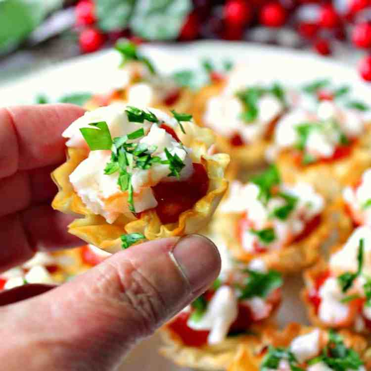 Festive Shrimp Cocktail Appetizer Bites with Cream Cheese and Cocktail Sauce | Kudos Kitchen by Renee