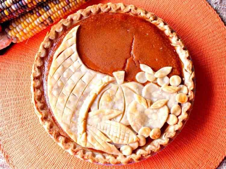 Festive Cornucopia Crusted Pumpkin Pie For Thanksgiving   Kudos Kitchen by Renee