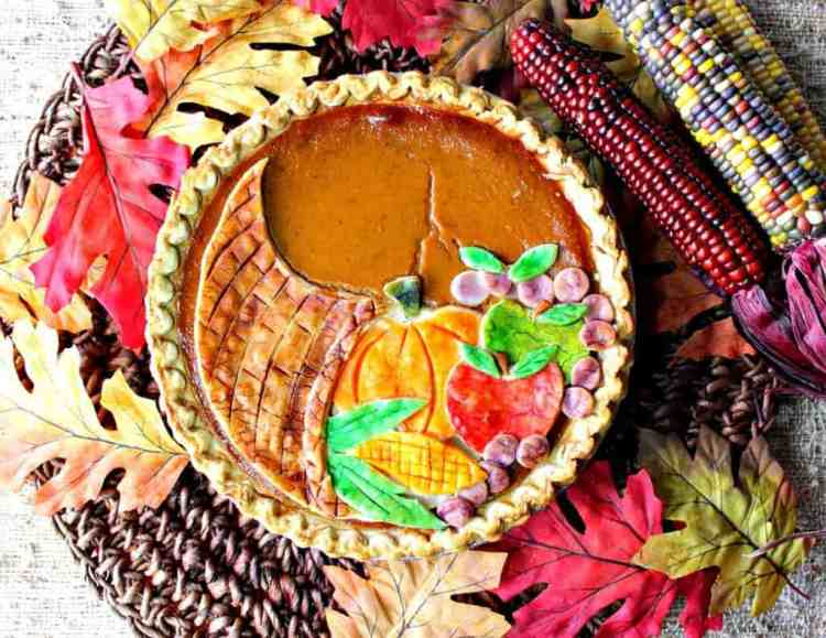 Festive Cornucopia Crusted Pumpkin Pie For Thanksgiving | Kudos Kitchen by Renee