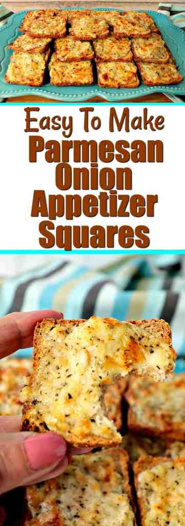 Parmesan Onion Appetizer Squares on a plate and close up image - www.kudoskitchenbyrenee.com