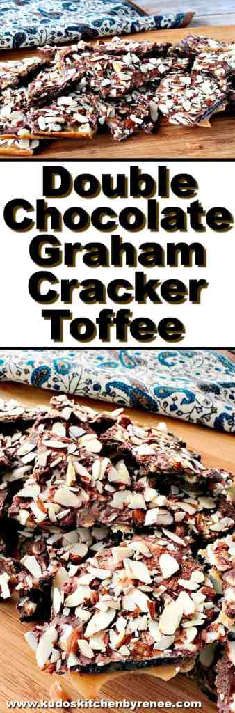 Double Chocolate Graham Cracker Toffee with Almonds - www.kudoskitchenbyrenee.com
