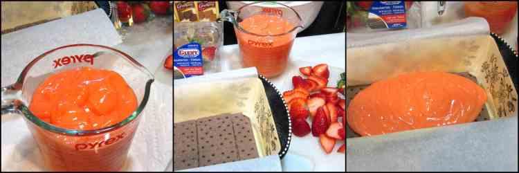 How to make easy No Bake Layered Chocolate Strawberry Pudding Cake with chocolate graham crackers, fresh strawberries, pudding, and topped with chocolate ganache. - www.kudoskitchenbyrenee.com
