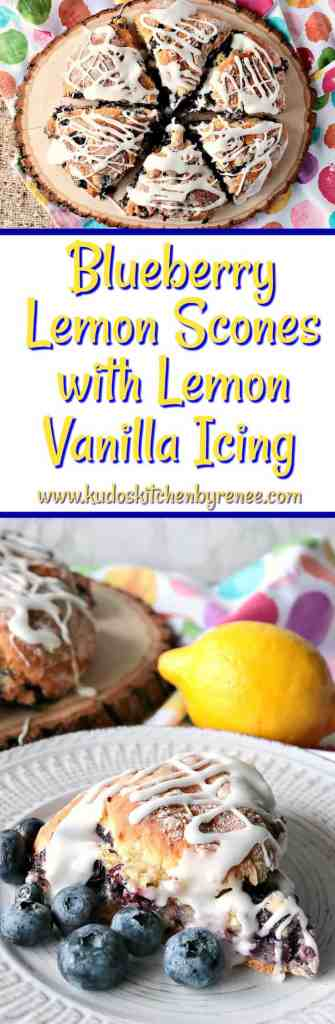 Tart & Tender Blueberry Lemon Scones with Lemon Vanilla Icing - www.kudoskitchenbyrenee.com