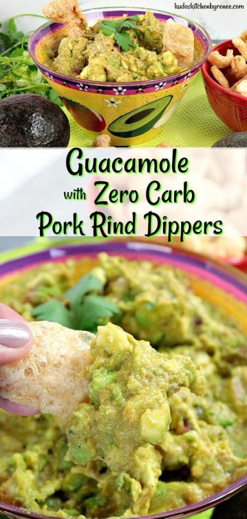 When you're eating a low carb diet, and you're craving guacamole, but not all those carbs found in corn and tortilla chips it's time to break out this Addicting Keto Guacamole with Pork Rind Dippers. NOW it's time to do the low carb party dance, and get your snack on, people! - kudoskitchenbyrenee.com
