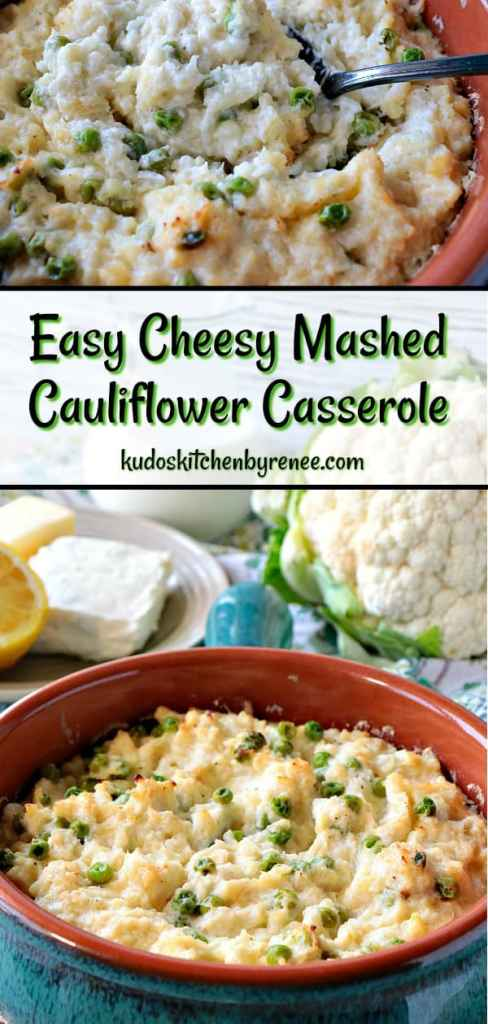 Cheesy Mashed Cauliflower Casserole is mixed with cream cheese, butter, cream, garlic and horseradish sauce for an extra zip of flavor! - kudoskitchenbyrenee.com