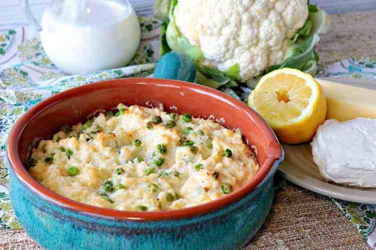 Easy Cheesy Mashed Cauliflower Casserole with Peas - kudoskitchenbyrenee.com
