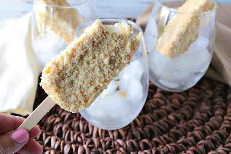 Copycat Toasted Almond Ice Cream Bar on a stick.