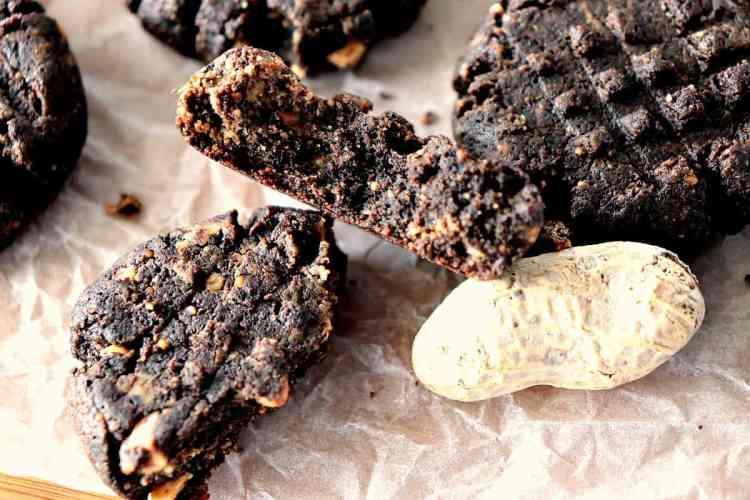 Closeup shot of the inside of a sugar free chocolate peanut butter cookie - kudoskitchenbyrenee.com
