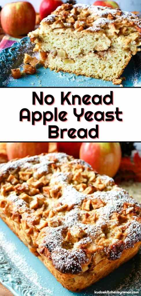 This delicious and sweet No Knead Apple Yeast Bread is moist and flavorful. It's loaded with lots of fresh apple chunks and plenty of warm cinnamon. The aroma of it baking in the oven is something you need to experience, and its taste is out of this world! - kudoskitchenbyrenee.com
