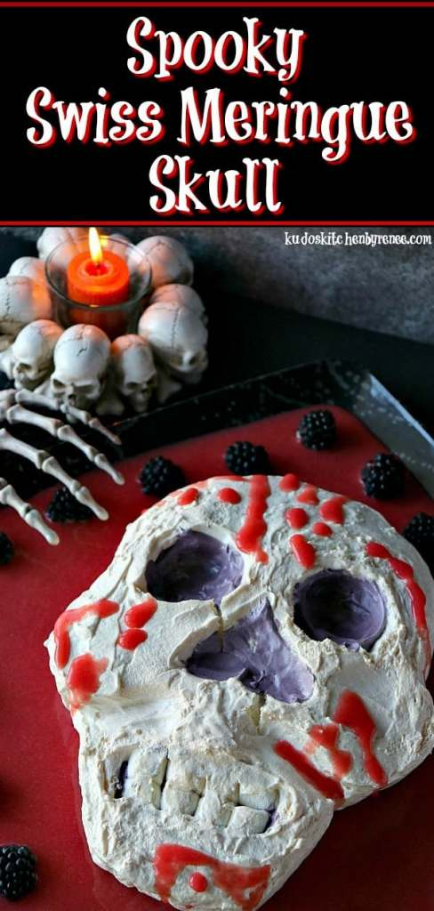 The impact this Spooky Swiss Meringue Skull will have when you set him out on the table will be one of freight, and delight. - kudoskitchenbyrenee.com