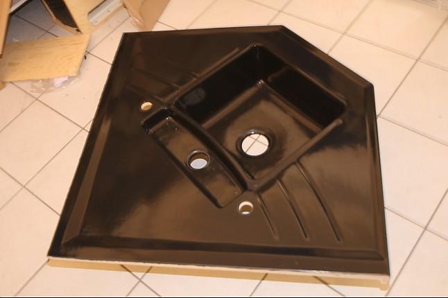 Einbausple Black Nero 68 Ecksple Schwarz  Systemceram