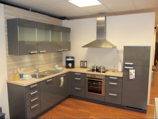 grey kitchen cabinets how much for remodel nolte-musterküche schichtstoff grau glänzend ...
