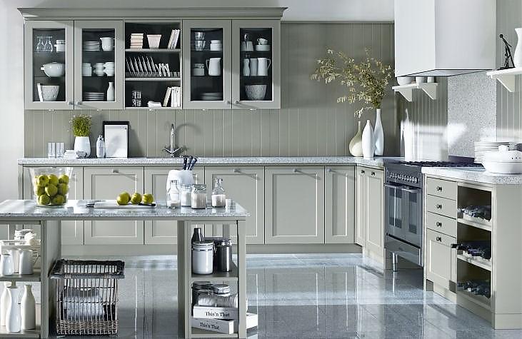 moderne landhausk che grau. Black Bedroom Furniture Sets. Home Design Ideas