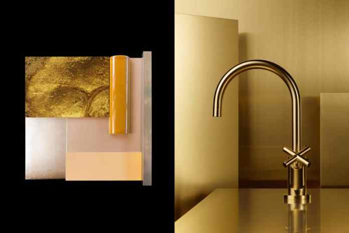 Unique feature: in reduced kitchen designs, the tap often remains as a solo design object. The golden tap is a consistent conclusion to draw attention to the sink area. (Photo: Dornbracht)