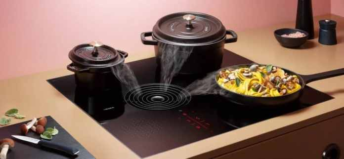 The asymmetrical cooktop extractor is intended to ensure that there is an even extraction despite different cookware sizes.  (Photo: BORA)